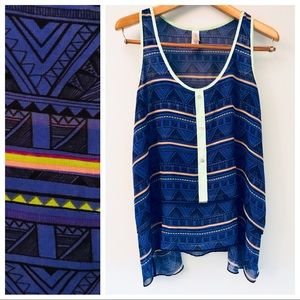 Boho tribal print top with neon accents sz XL